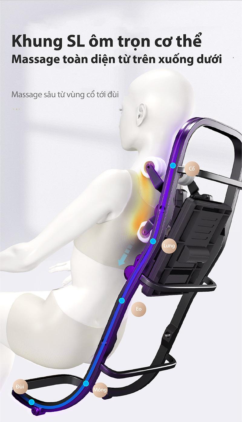 Ghế massage toàn thân Akira K8 với khung SL kép dài
