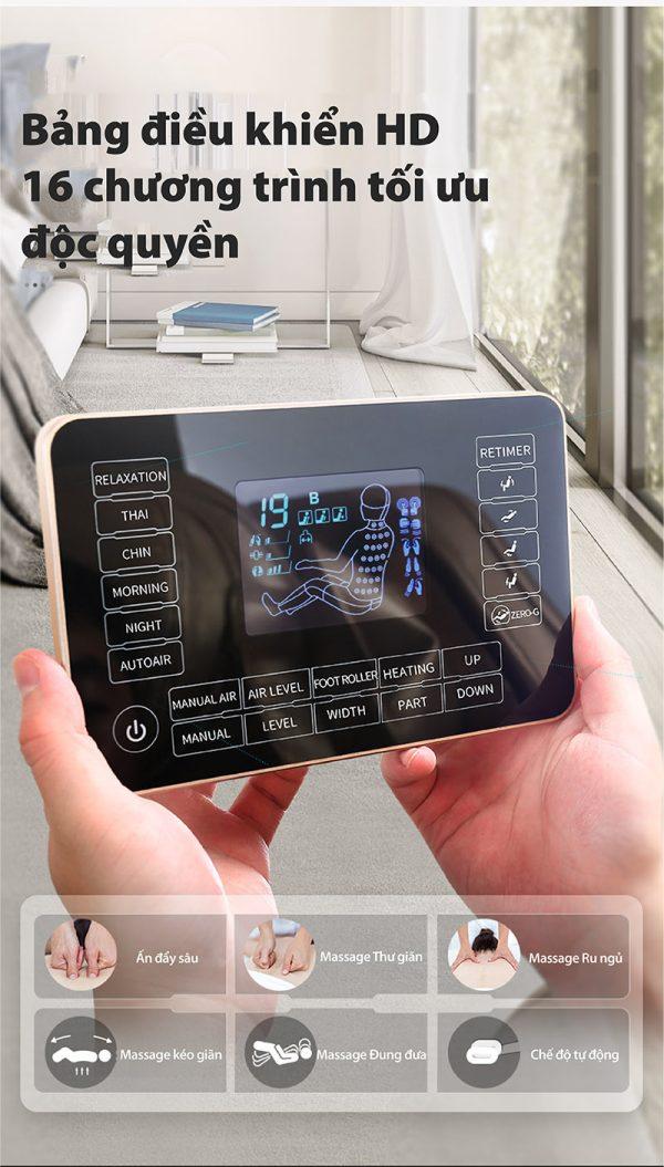 bảng điều khiển cảm ứng của ghế massage cao cấp Akira K8