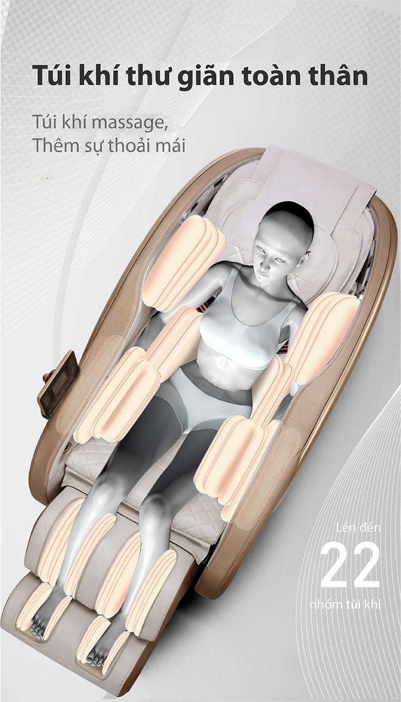 Ghế massage Akira K8 trang bị 22 túi khí toàn thân