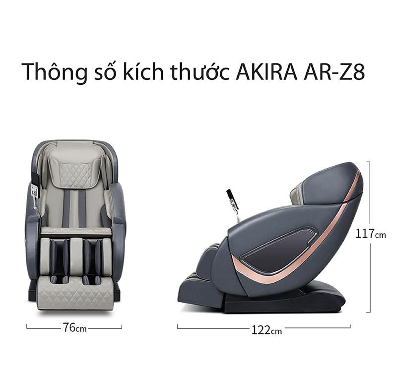Thông số kích thước ghế massage Akira AR Z8