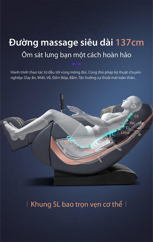 Ghế massage Akira Z8 trang bị khung SL siêu dài