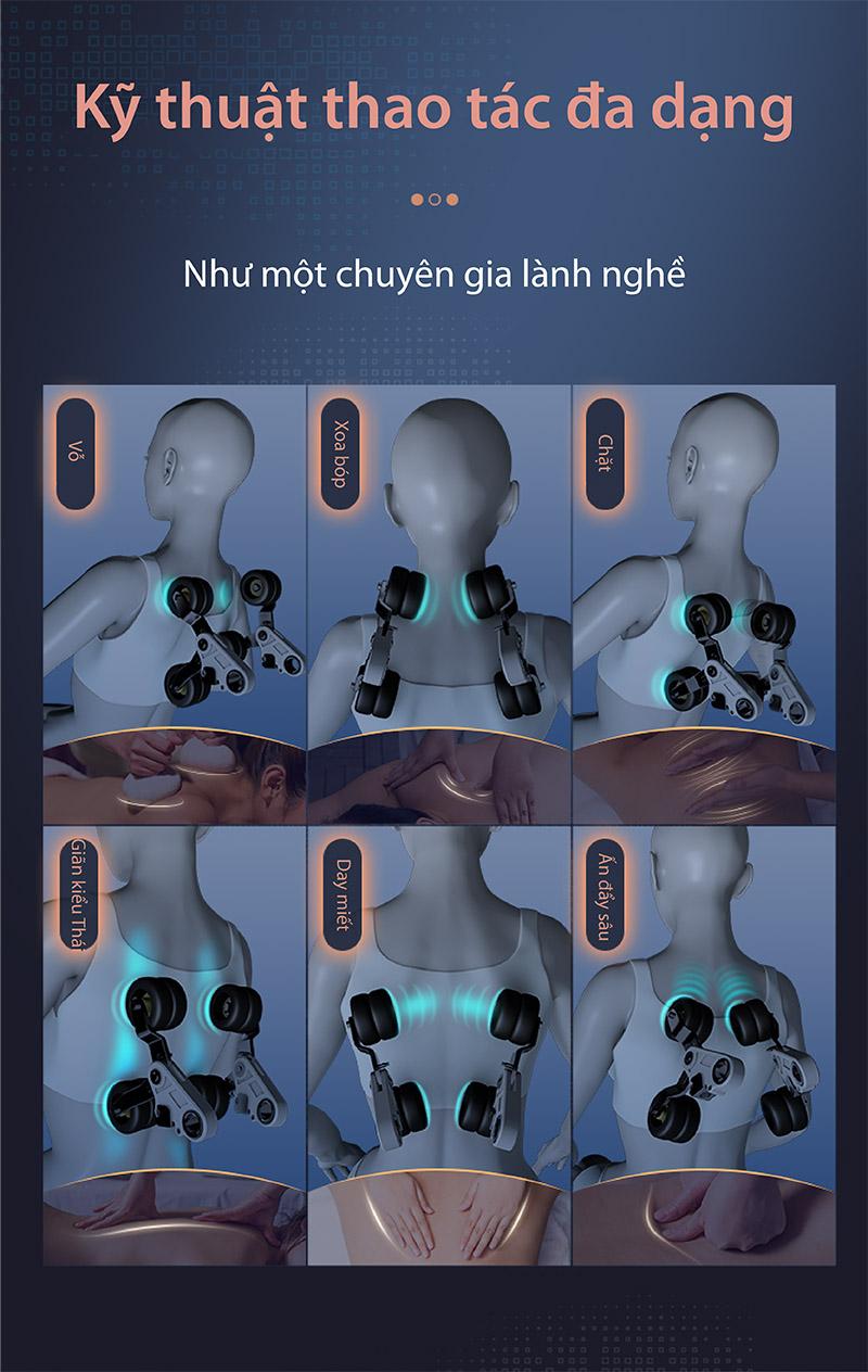 ghế massage akira z8 đa dạng kỹ thuật thao tác
