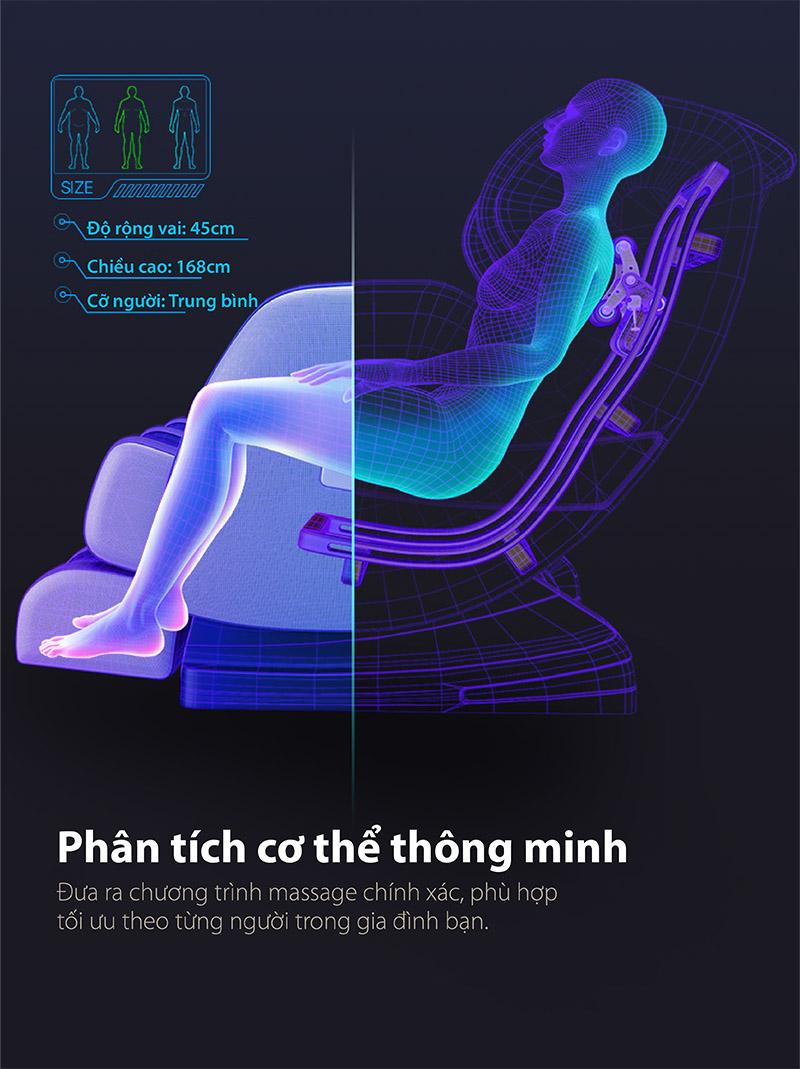Chức năng phân tích cơ thể trên ghế massage thông minh akira Z6