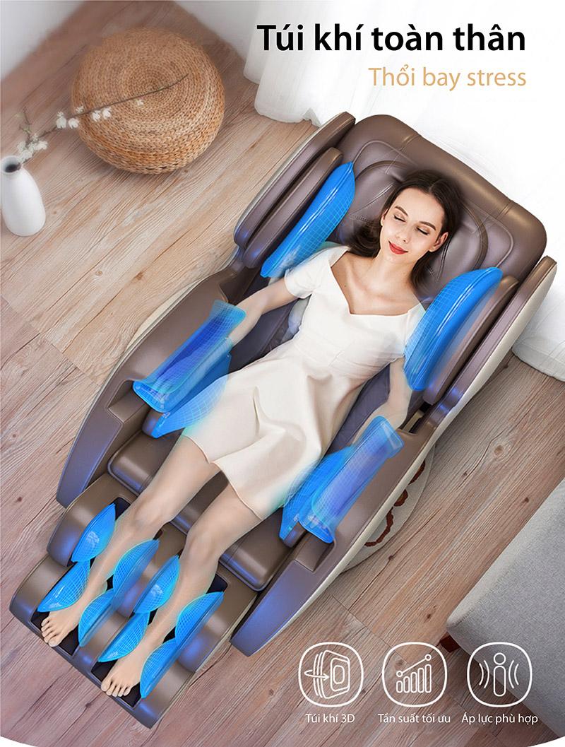 Hệ thống 17 túi khí toàn thân của ghế massage Akira Z6