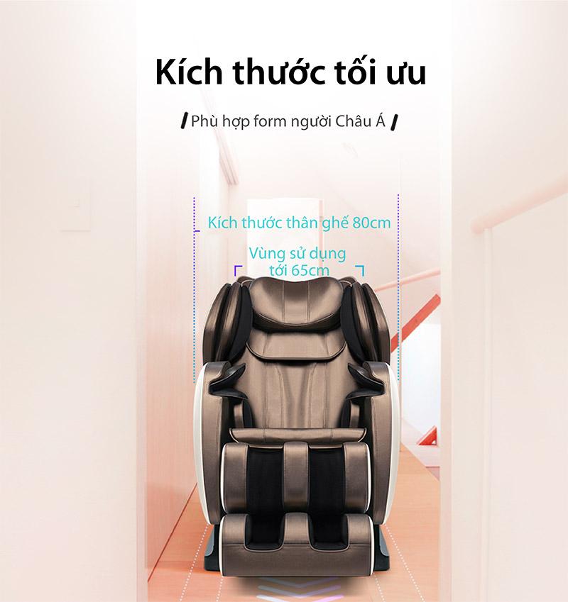 Ghế massage Akira Z6 với kích thước hợp lý