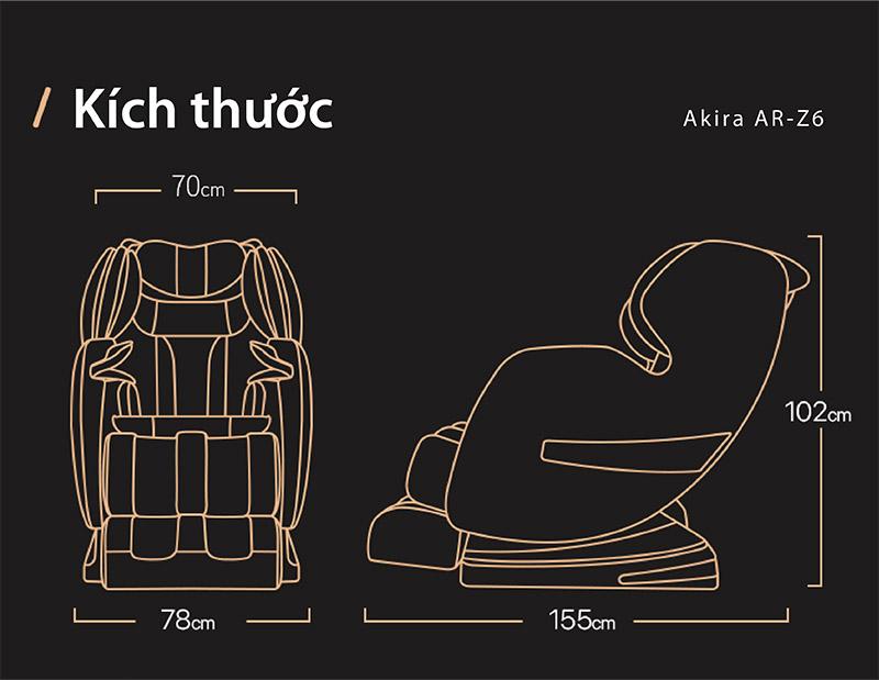 Kích thước ghế massage Akira Z6