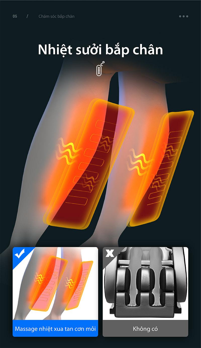 ghế massage có tính năng sưởi ấm băp chân