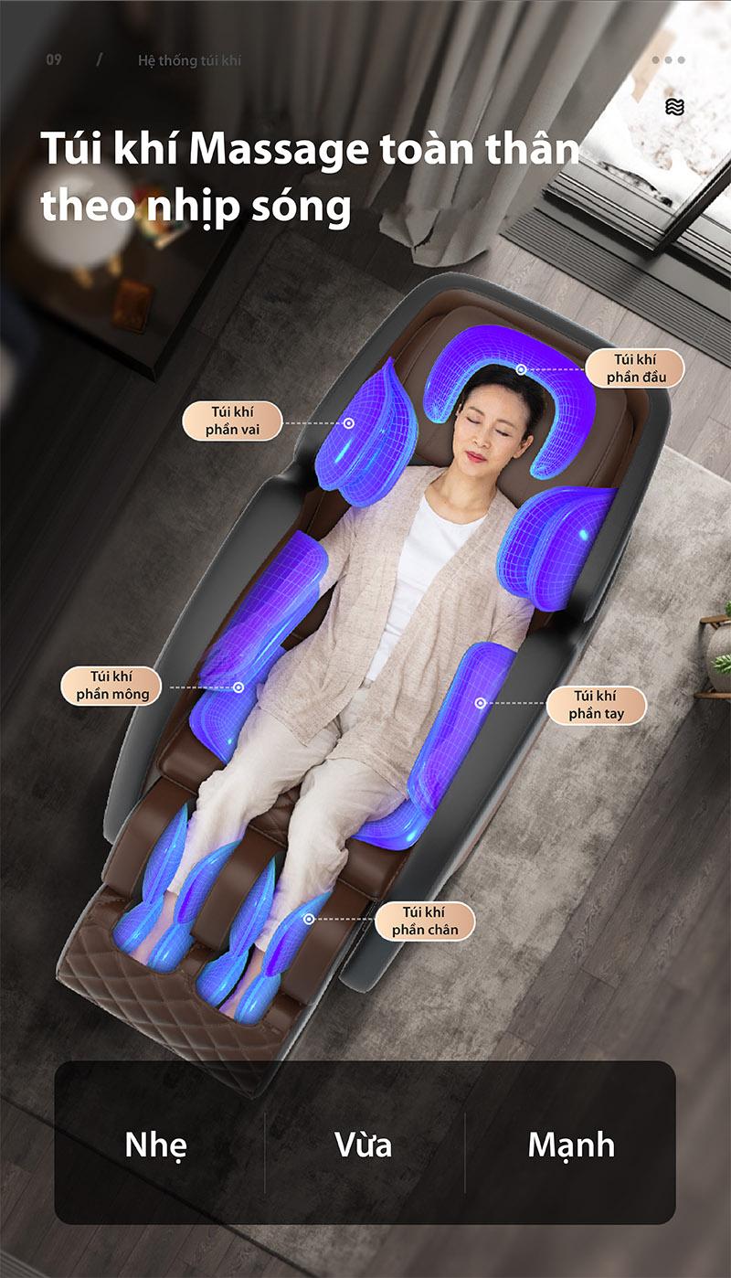 ghế matxa akira q1 trang bị túi khí toàn thân
